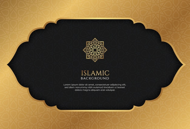 Golden islamic background decorative ornament frame