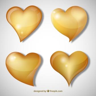Sfondo cuore d'oro isolato