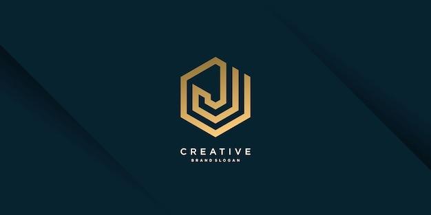 독창적인 개념과 현대적인 독특한 스타일의 9부 골든 j 문자 로고 템플릿