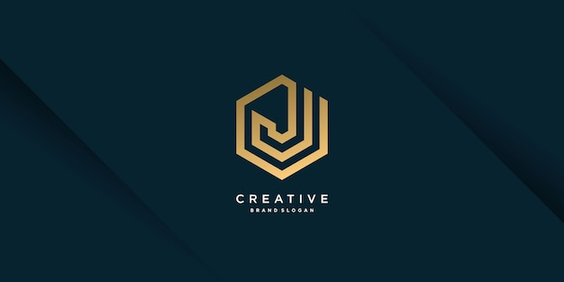 Golden j letter logo template with creative concept and modern unique style part 9