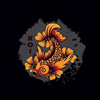 황금 일본 잉어 물고기와 꽃