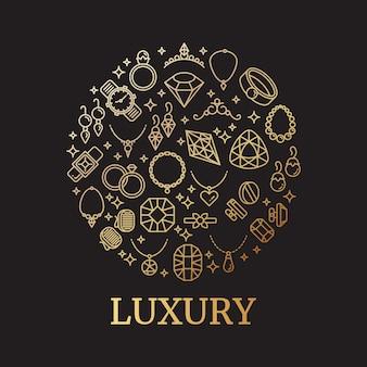 Golden jewelry and gemstones line vector icons