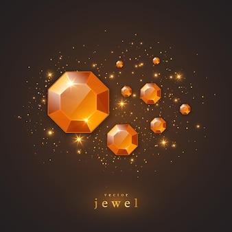 金色の宝石、ダイヤモンド、光るライト。