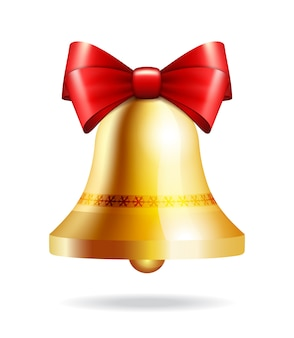 Golden jingle bell with red bow  on white.  illustration for christmas, new year, decoration, winter holiday