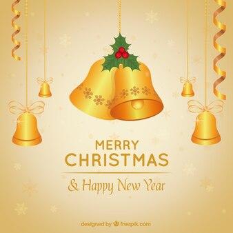 Золотой колокольчики рождественские фон