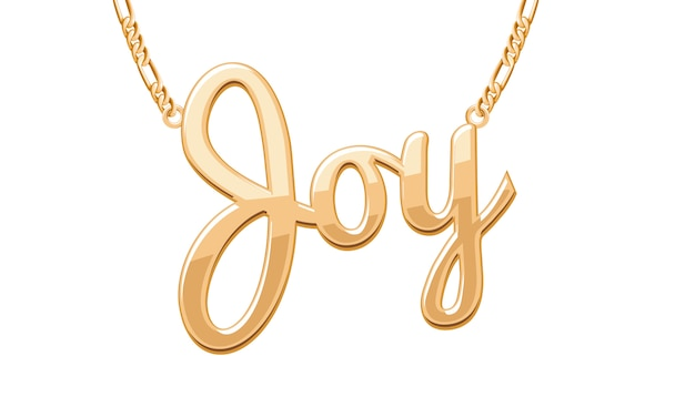 Golden joy word pendant on chain necklace. jewelry .