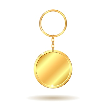 Golden keychain circle shape