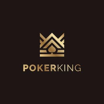 ポーカーロゴデザインのためのゴールデンキングとスペードエース