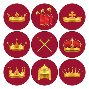 Golden kings crowns from different medieval states, gold swords and chimneys with red cloth vector illustrations in scarlet circles.