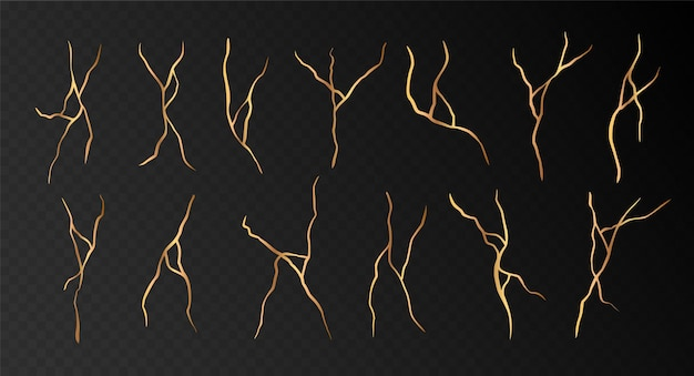 Golden kintsugi cracks set isolated on black. abstract hand drawn decorative elements collection. vector illustration.