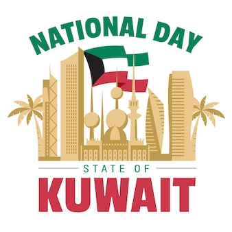 Golden kuwait city flat design national day