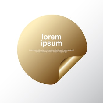 Golden label rounded circle