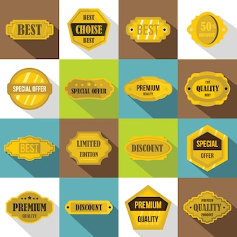 Golden labels icons set, flat style