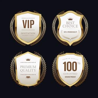 Golden labels with golden frame over beige