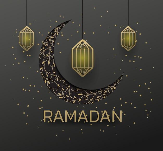 Golden lamp beautiful eid mubarak golden decorative moon greeting.ramadan golden moon ant star on black background.premium