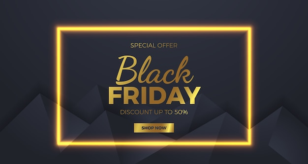 Golden lamp glow line black friday with minimalism geometric sale offer discount banner template