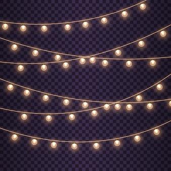 Золотая гирлянда из ламп светящиеся огни на рождество