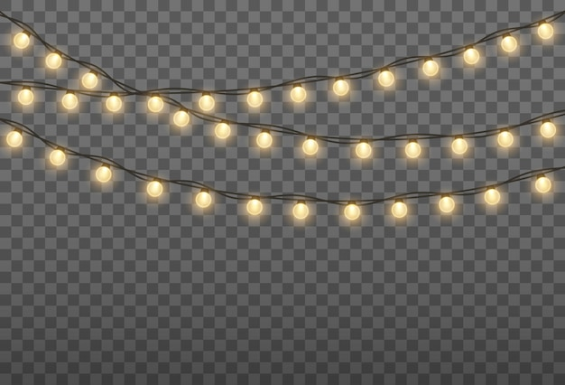 ゴールデンランプガーランドクリスマスホリデー用グローイングライト