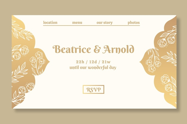 Modello di pagina di destinazione dorata per il matrimonio