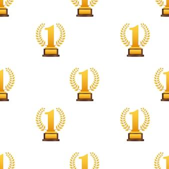 Golden laurel for first place pattern. vector stock illustration.