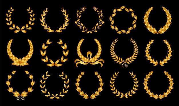 ゴールデンローレルリース。賞、業績、紋章学、貴族を描いたさまざまな黒い円形の月桂樹、オリーブ、小麦の花輪のコレクション。プレミアム記章、伝統的な勝利のシンボル。