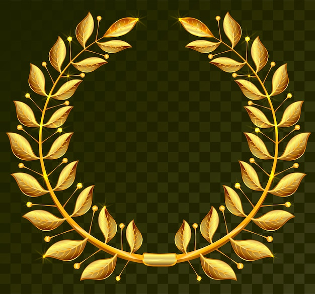 Golden laurel wreath on dark transparent