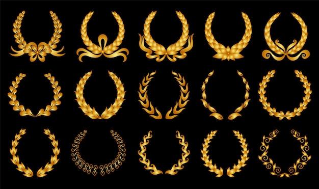 黄金の月桂樹の花輪のイラスト