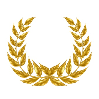 Golden laurel wreath   isolated on white background.