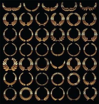 Golden laurel wreath isolated