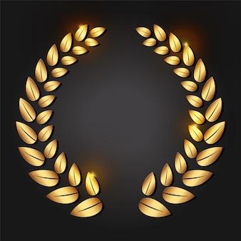 黄金の月桂樹の花輪。 vipの人のための贅沢な報酬。コンテストでの授賞式。勝利のシンボル。証明書、記章または品質のための装飾。