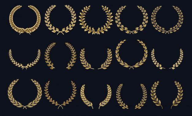 황금 월계관. 현실적인 크라운, 잎 모양 우승자 상, 잎 크레스트 3d 엠블럼. 그리스 로마 월계수 실루엣과 올리브 화환 명예 업적