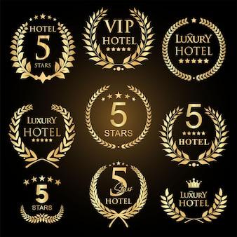 Golden laurel wreath set five stars hotel badges collection