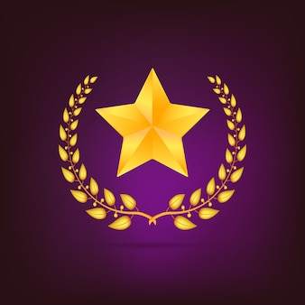 Golden laurel wreath with star. detailed  on colored background.