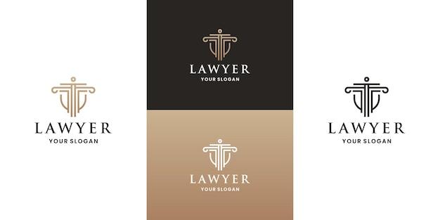 Золотой адвокат, щит правосудия дизайн логотипа