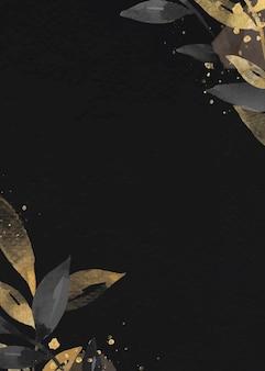 黄金の葉の黒いカードの背景