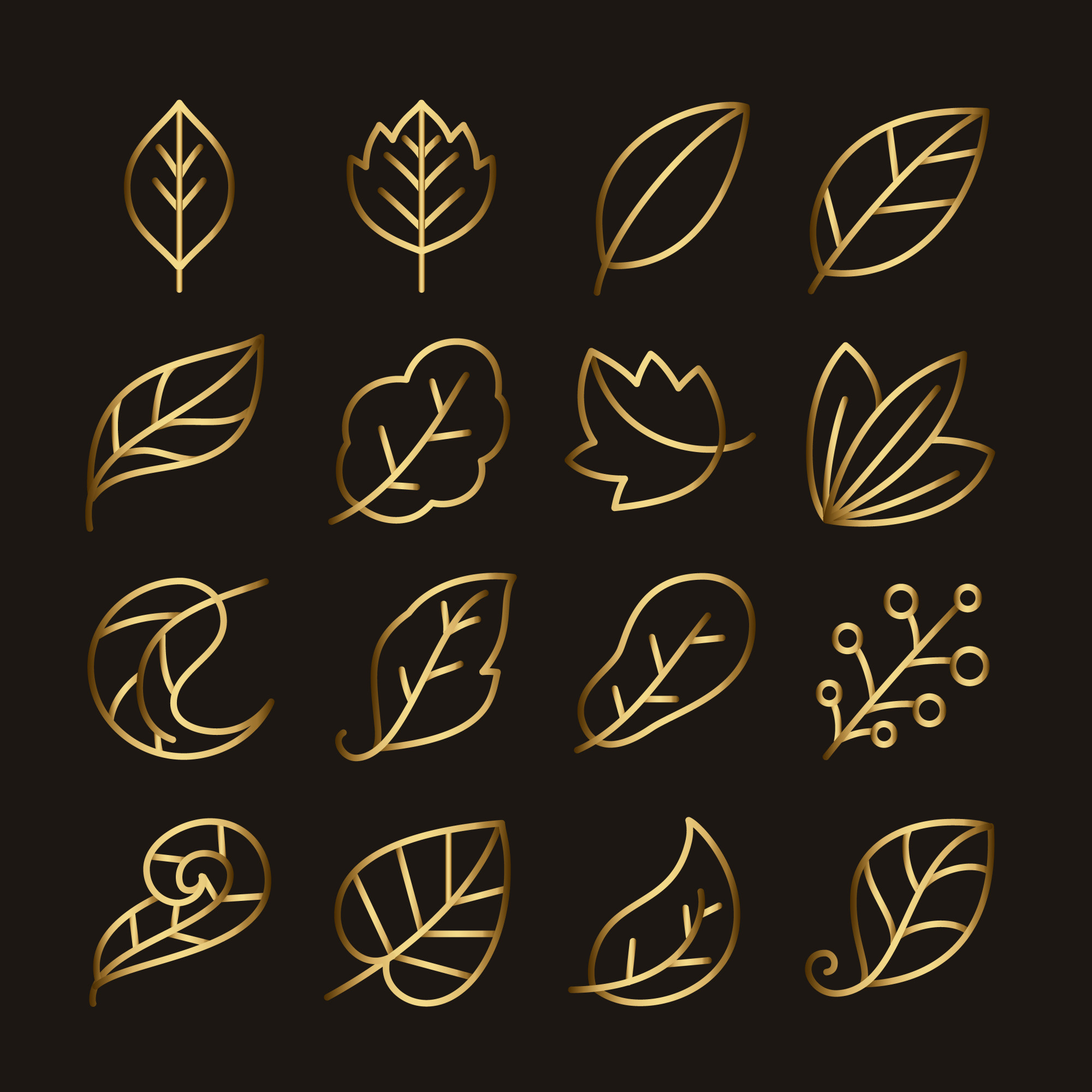 Golden leaf line icon set