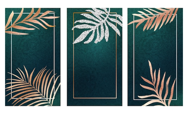 Golden leaf on teal foil texture banners set. luxurious background with gold frond tropical leaves. vertical card vector design.