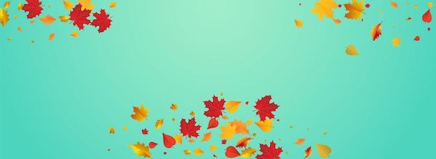 黄金の葉ベクトル青いパノラマの背景。フライングフローラルフレーム。緑は植物テンプレートを祝います。ツリーカード。