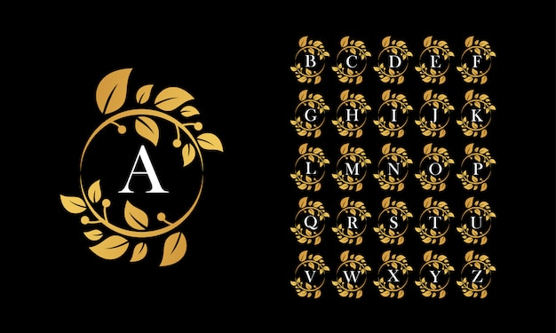 Golden leaf wreath logo with the alphabet