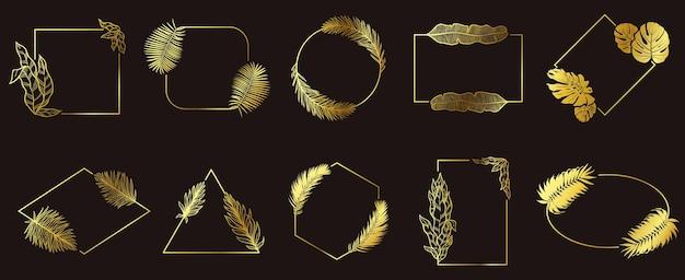 黄金の葉のフレーム。ゴールドフローラルフレーム、トロピカルリーフジュエリーラベル、リーフボーダーセット。