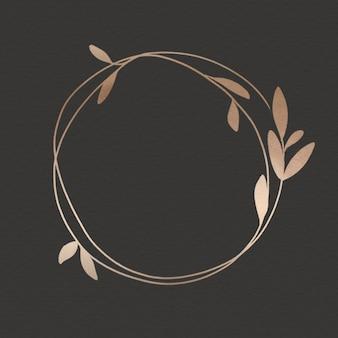 Golden leafy frame on black background