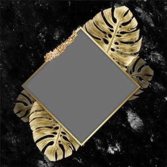 黄金の緑豊かなひし形フレームベクトル