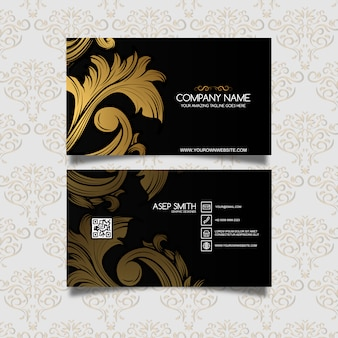 Golden leaves business card design