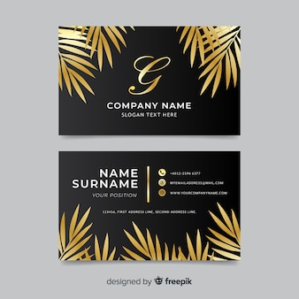 Golden leaves business card