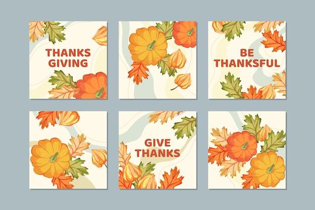 Post di instagram di ringraziamento disegnati a mano di foglie d'oro