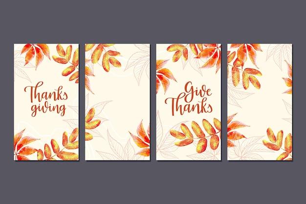 Storie di instagram di ringraziamento disegnate a mano di foglie d'oro