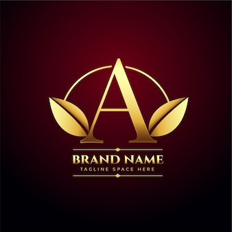 Golden leaves letter a concept logo in premium style