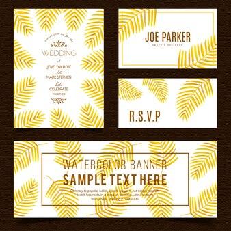 Golden leaves stationery set