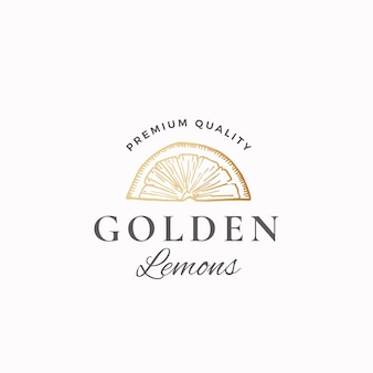 Golden lemons abstract sign, symbol or logo