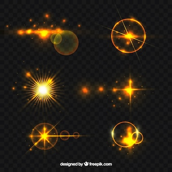 Golden lens flare collection